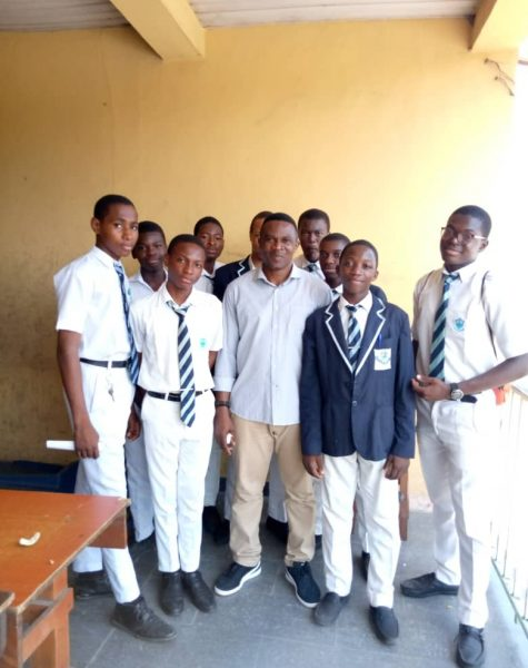 Dr. K. E. Kalu of Woosong University and Solbridge Business School with CMS Boys Grammar School during visitation to Nigeria.